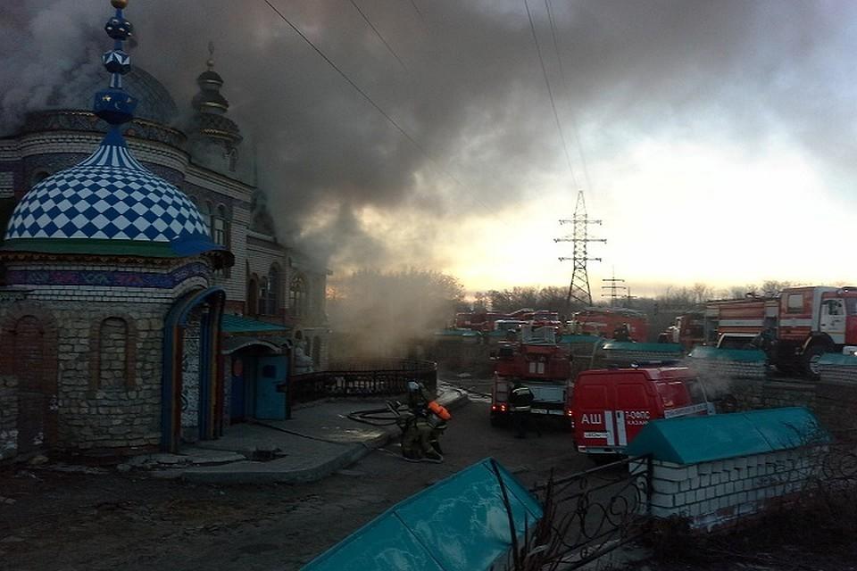 Пожар вКазани внастоящее время : возгорание в монастыре  всех религий устранено