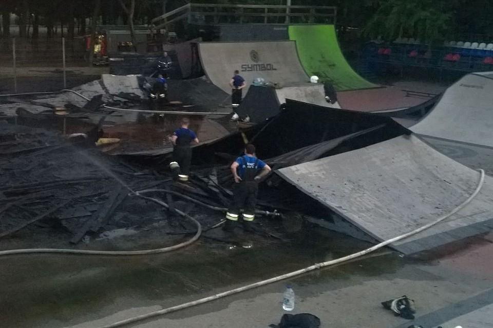 ВКраснодаре ночью сгорел скейт-парк наЗатоне