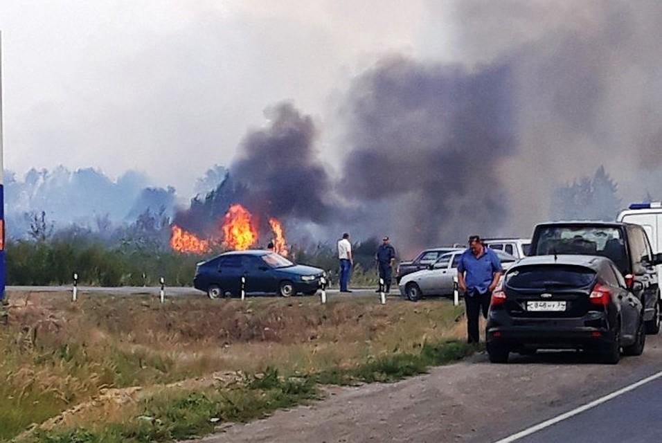 Пожар встепи под Волгоградом подобрался кфедеральной трассе