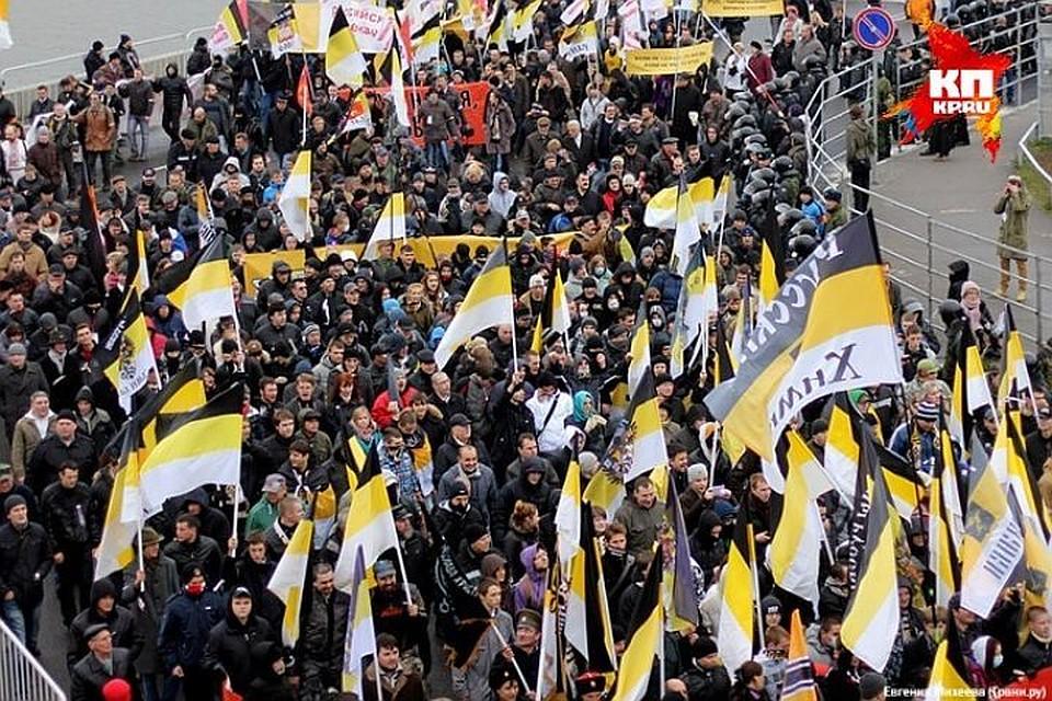 «Русский марш» вПетербурге превратился вхаотическое брожение