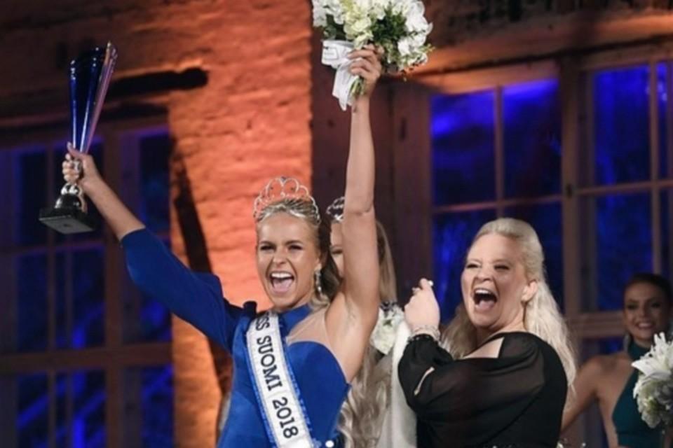 """Алина Воронкова, выигравшая конкурс """"Мисс Финляндия""""."""