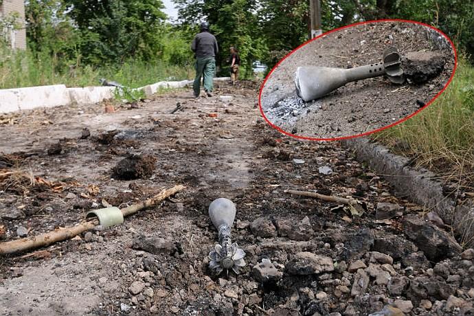 Мины, которые были снаряжены кассетами с фосфорными боеприпасами, на местах падения