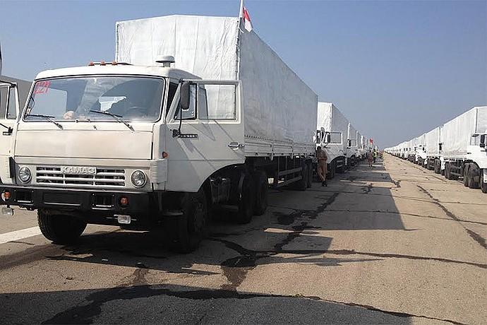 В составе гуманитарного конвоя в Украину отправились 287 грузовых автомобилей