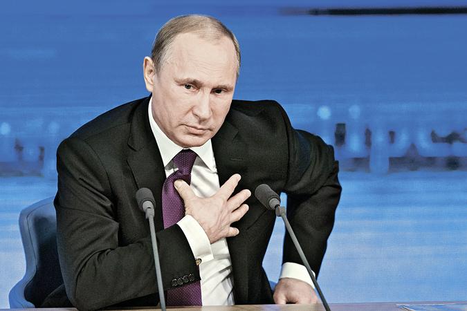 Владимир Путин провел в Москве традиционную ежегодную Большую пресс-конференцию. Фото: AP Photo.