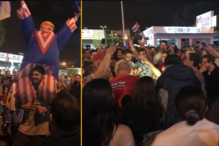 Жители Майами вышли... праздновать кончину кубинского лидера Фото: https://twitter.com/jamieNBC6/