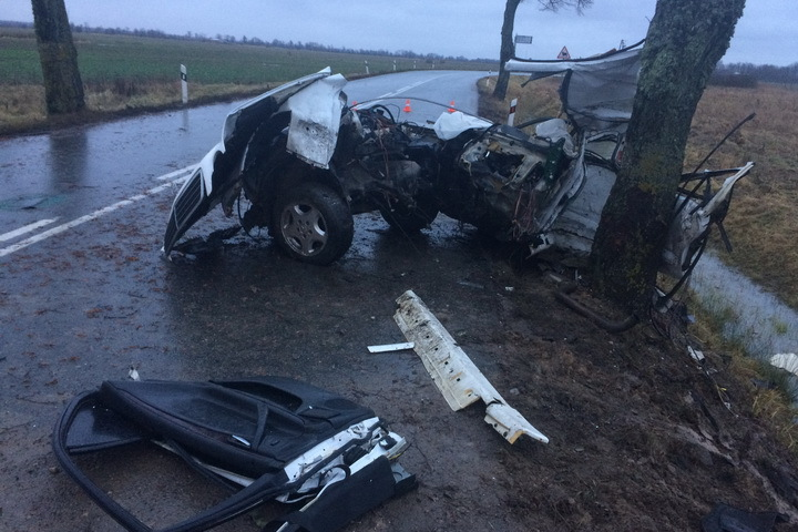 Mercedes врезался вдерево под Калининградом, три человека погибли