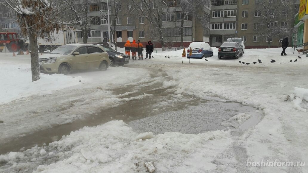 НаРабкоров вУфе из-за морозов прорвало трубопровод