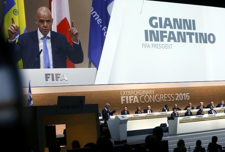 Первое публичное выступление Джанни Инфантино в должности президента ФИФА. Фото: REUTERS