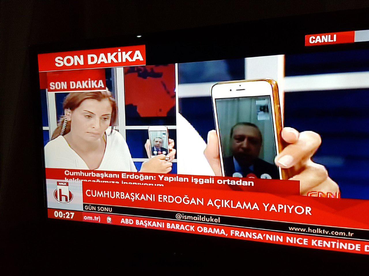 Обращение Эрдогана к сторонникам через Skype