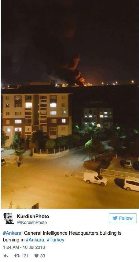 Пожар в штабквартире разведки Фото: СОЦСЕТИ