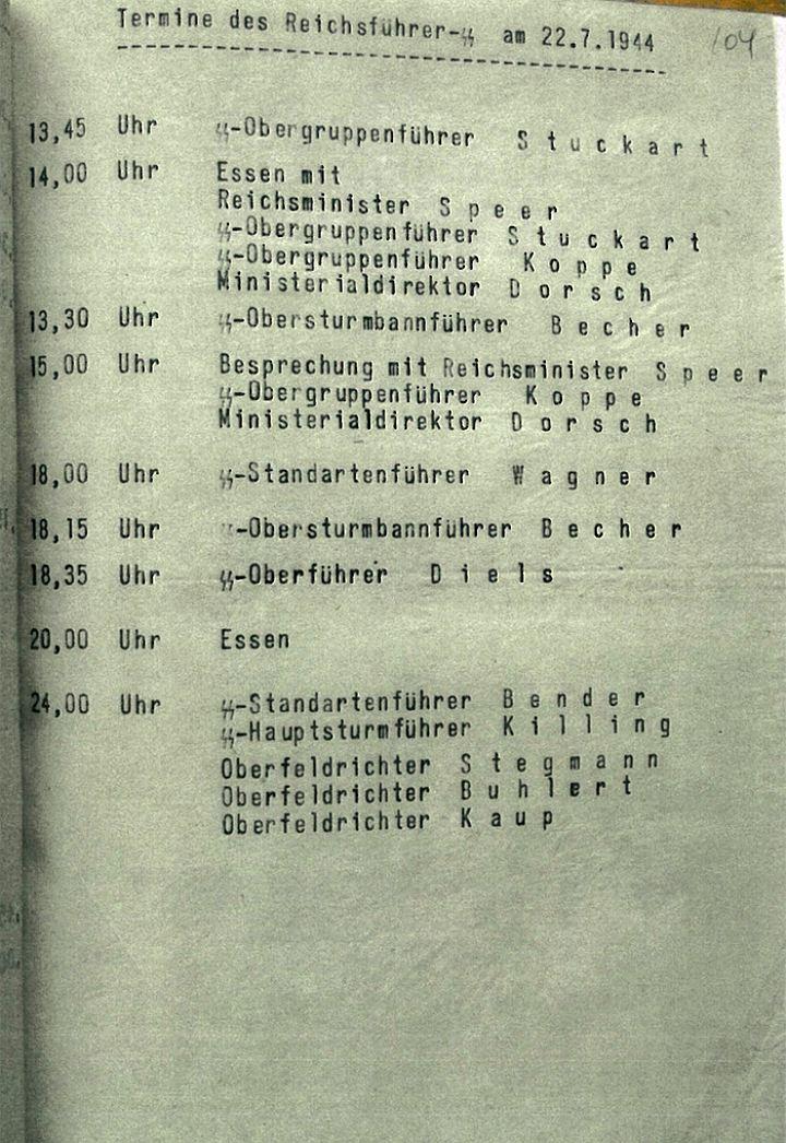 Страница дневника за 20 июля 1944 года. В этот день произошло покушение на Гитлера