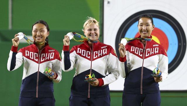 Трио лучниц Инна Степанова, Туяна Дашидоржиева и Ксения Попова Фото: REUTERS