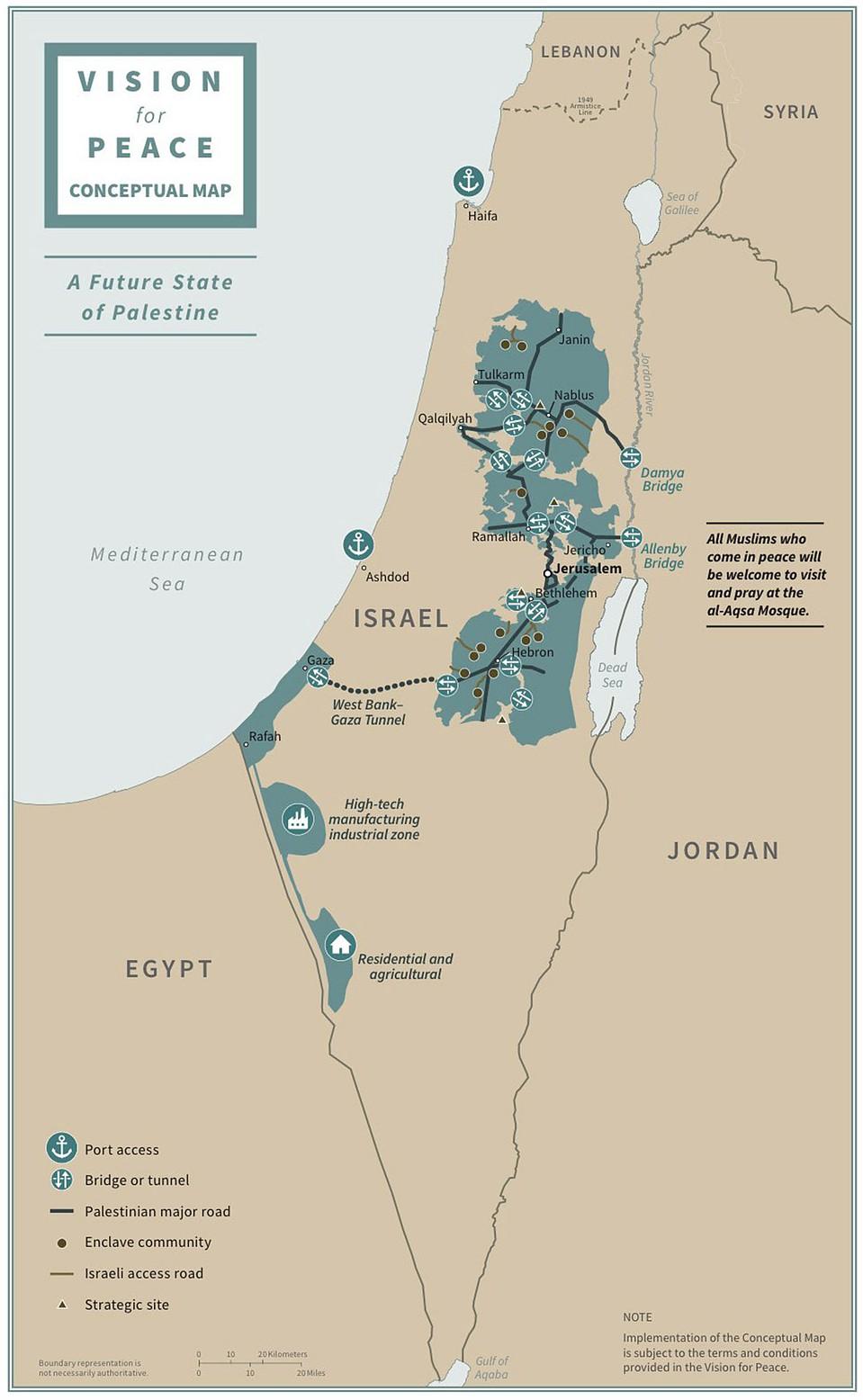 Новая карта Палестины по плану президента США.