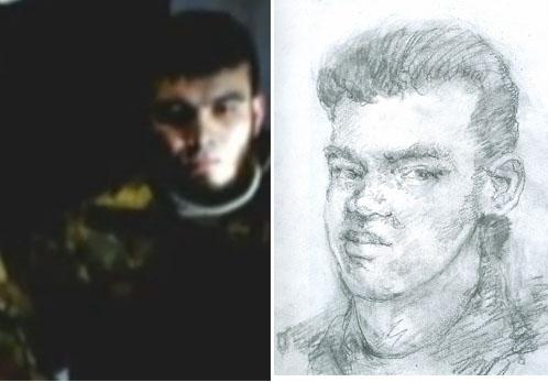 """Можно найти и сходство между неизвестным с видео и портретом, нарисованным для """"КП"""" художником по фотографии головы найденной на месте взрыва."""