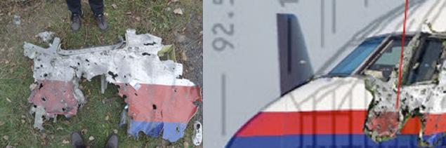 Расположение куска обшивки на фюзеляже самолёта.
