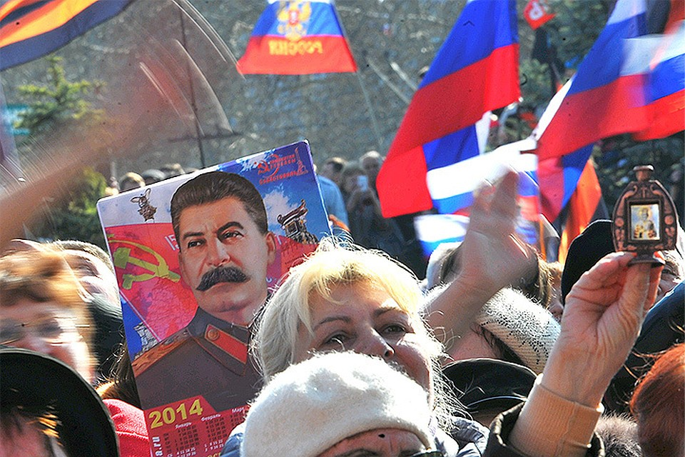 Март 2014 года, митинг в центре Севастополя по случаю возвращения Крыма в состав РФ.