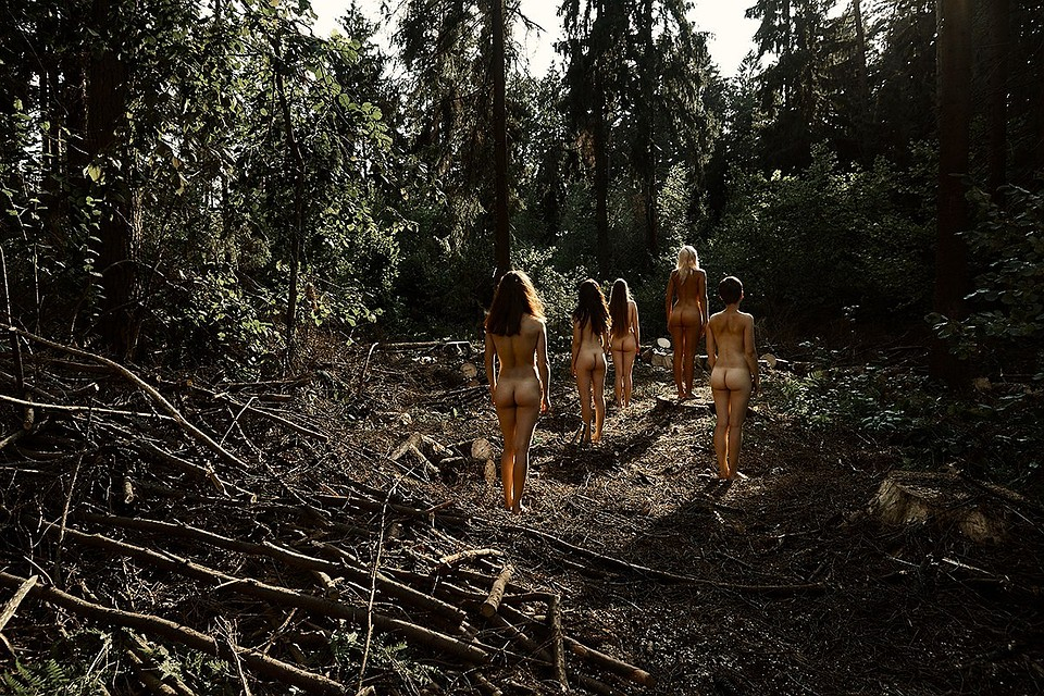 Много девушек разделись в лесу