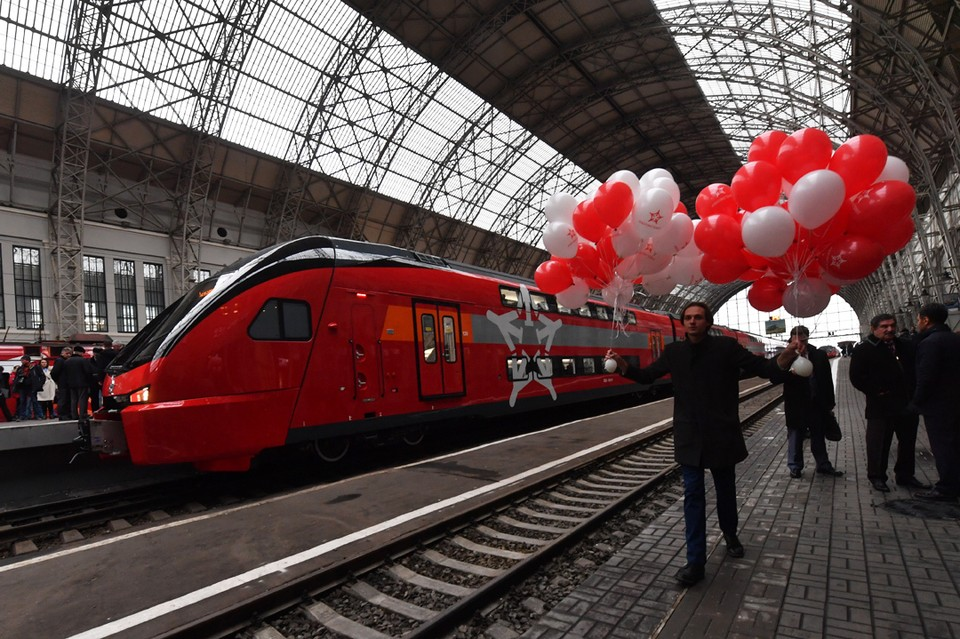 По случаю запуска первого поезда «Аэроэкспресс» провел торжественную церемонию.