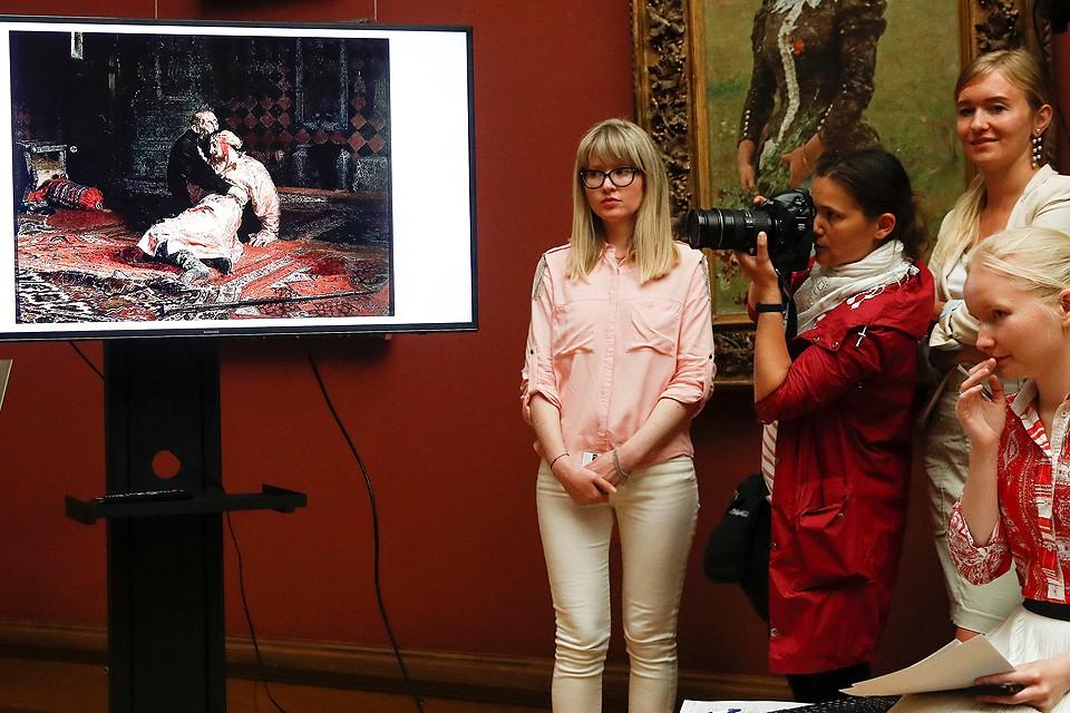 В Третьяковской галерее прошел брифинг, посвященный происшествию с картиной Репина «Иван Грозный и сын его Иван».