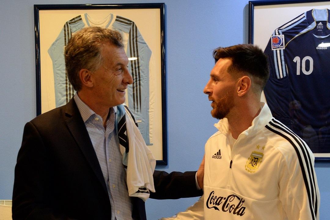 Президент Аргентины Маурисио Макри и аргентинский футболист Лионель Месси
