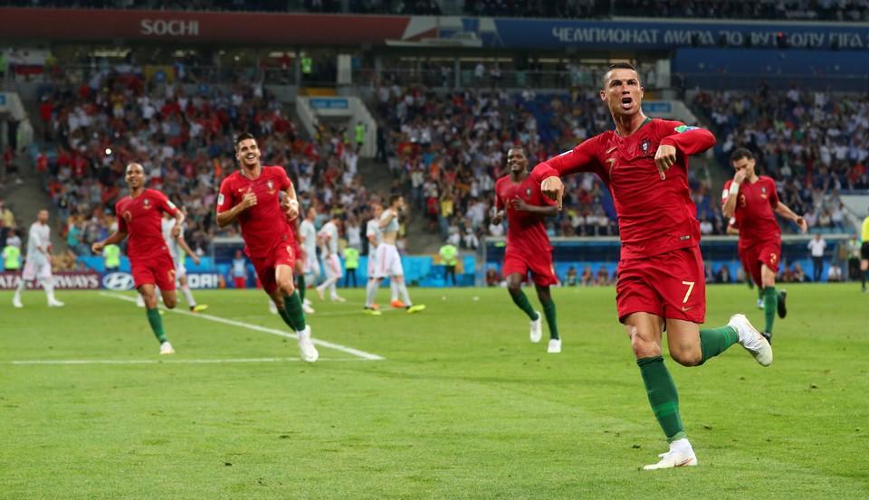 Криштиану Роналду - автор трех голов в матче ЧМ-2018 против Испании.