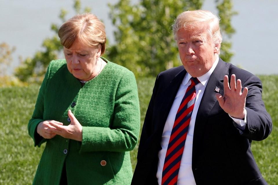 Канцлер ФРГ Ангела Меркель и президент США Дональд Трамп на саммите G7