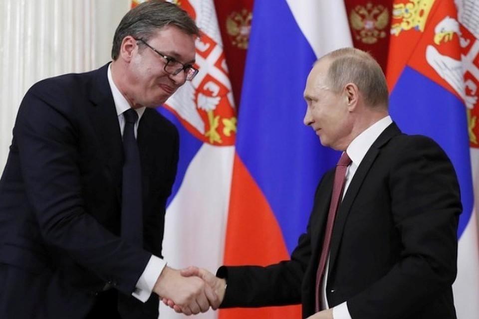 Президенты Сербии и России Александар Вучич и Владимир Путин