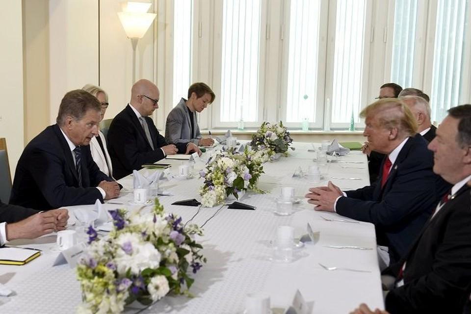 Встреча президентов Финляндии и США Саули Ниинисте и Дональда Трампа в резиденции Мянтуниеми