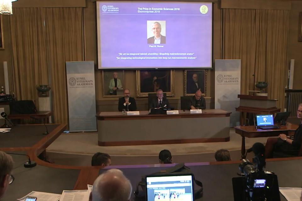 Премия по экономике памяти Альфреда Нобеля 2018 года присуждена Уильяму Нордхаусу и Полу Ромеру