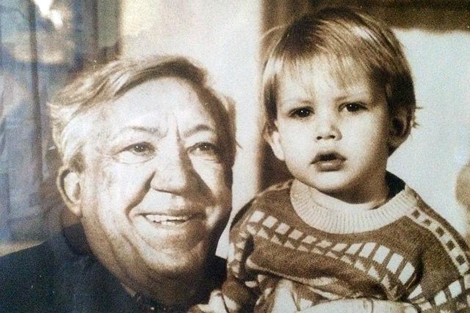 Юрий Никулин с внуком.