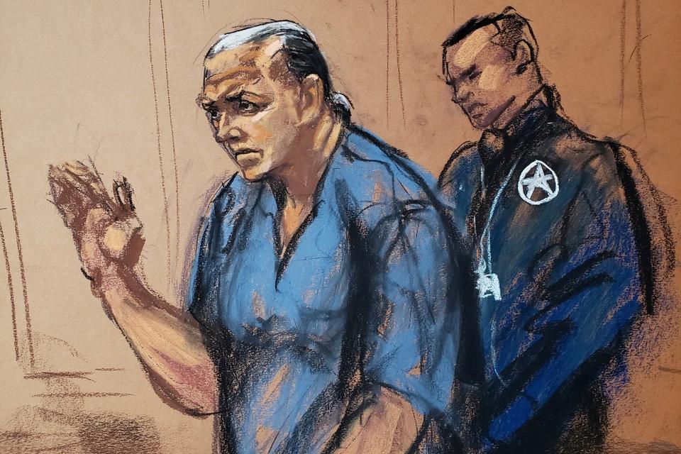 Зарисовка из зала суда, в котором проходило слушание дела Сэйака