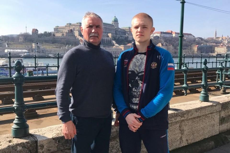 Василий Каверин и его тренер Аркадий Казюка.