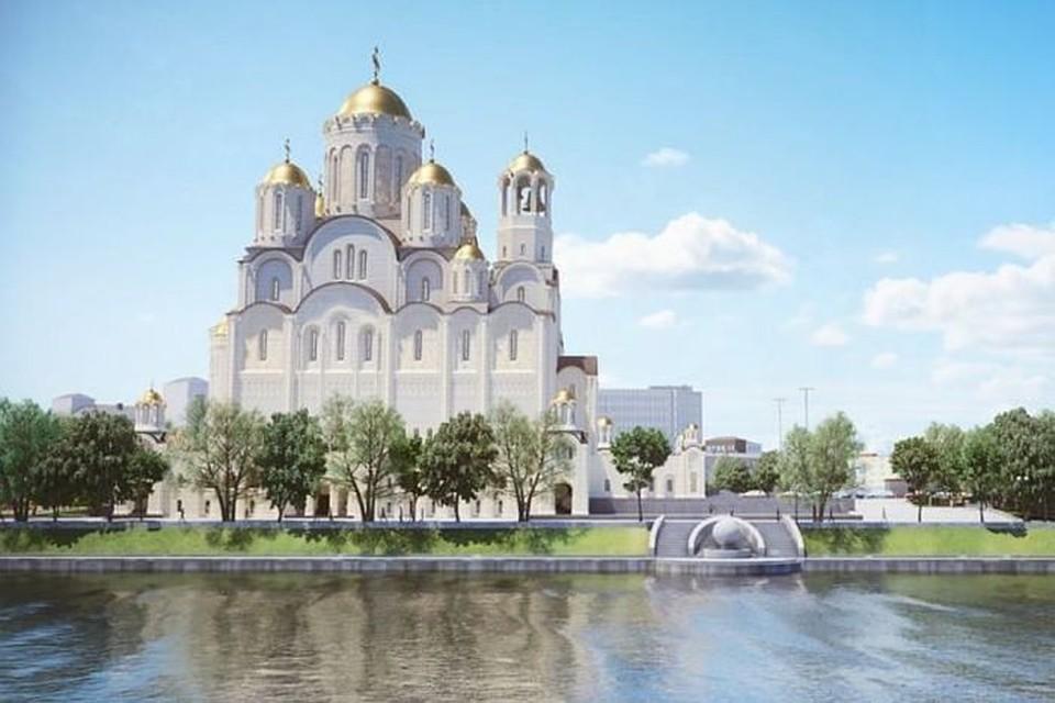 Так храм святой Екатерины может выглядеть, если его построят в сквере у Театра драмы. Фото: проектная документация