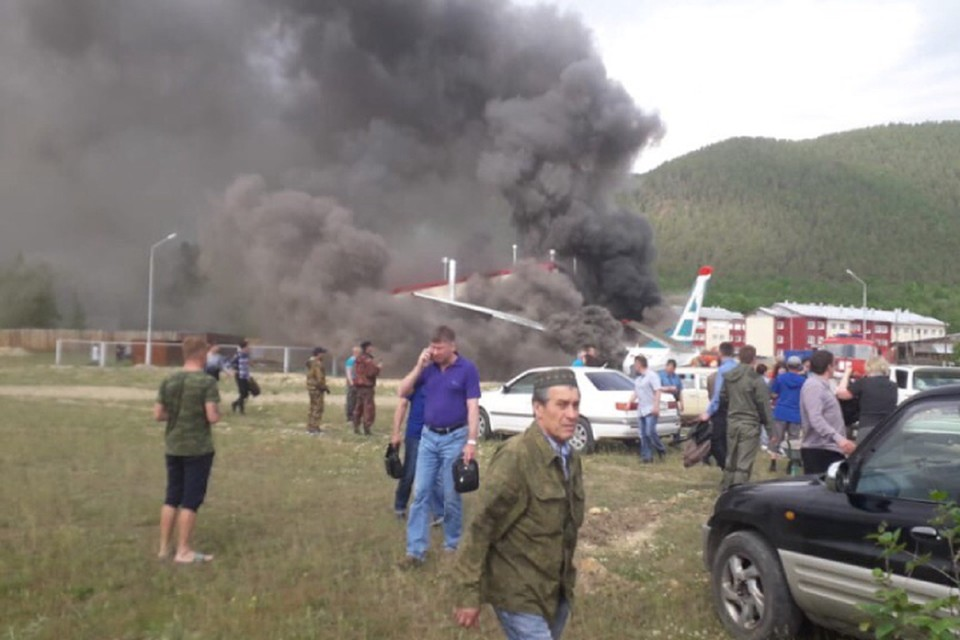 Причина авиакатастрофы Ан-24 в Нижнеангарске в Бурятии: по предварительным данным, в воздухе отказал двигатель. Фото: инцидент Иркутск.