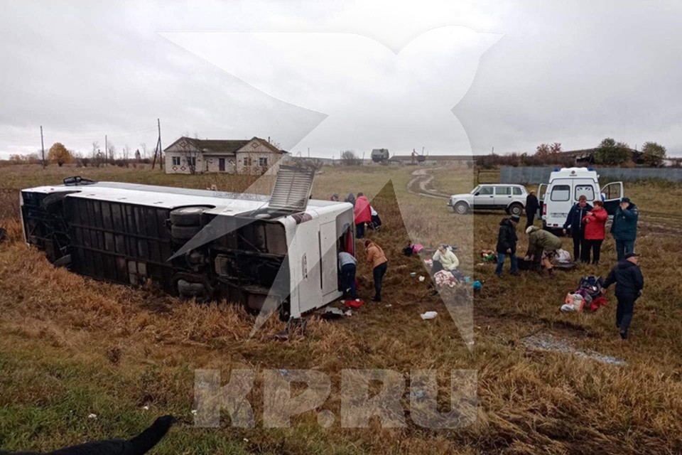 В Нижегородской области перевернулся туристический автобус. Фото: Источник КП