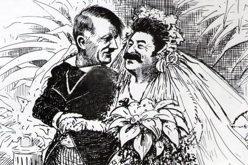 """Журнал """"Дилетант"""" вынес американскую карикатуру 1939 года о свадьбе Гитлера и Сталина на обложку."""