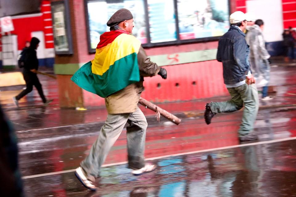 Уличные беспорядки в Ла Пасе, столице Боливии.