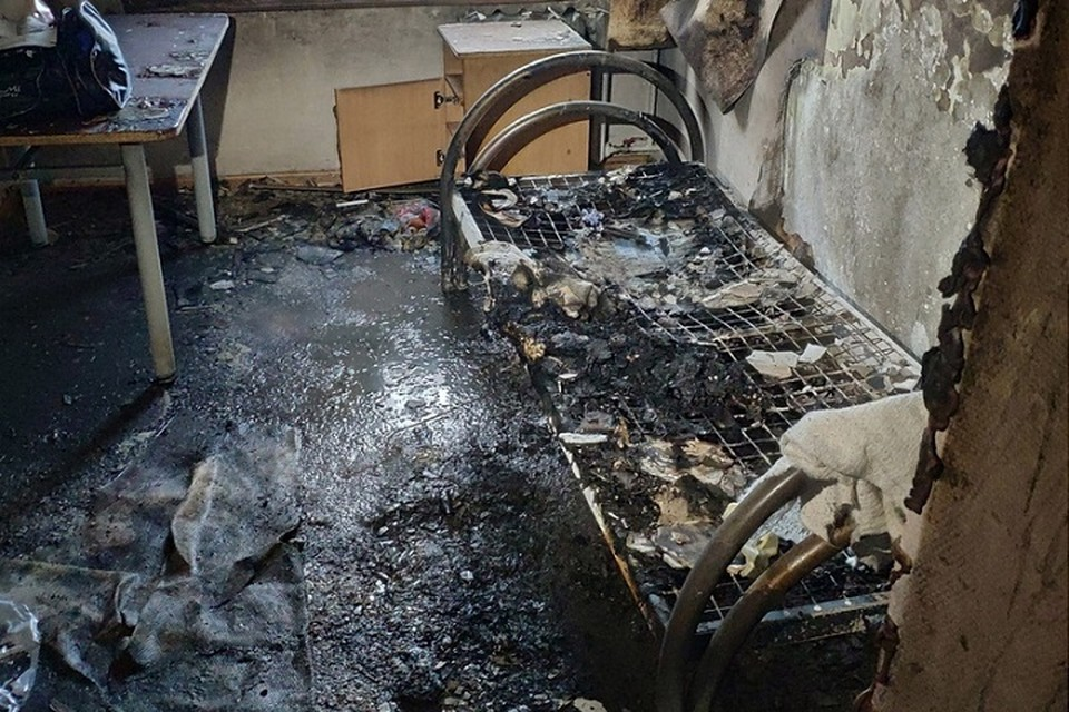 Пожар в наркодиспансере в Тюмени. Фото: Тюменское время