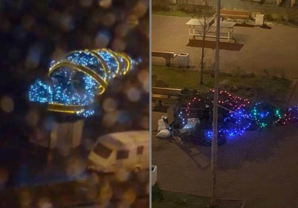 На некоторых улицах ветер отменил новогодние праздники. Фото: СОЦСЕТИ