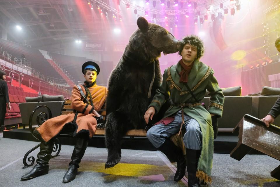 Дрессировщики Александр и Олег Александровы и медведь Яша.