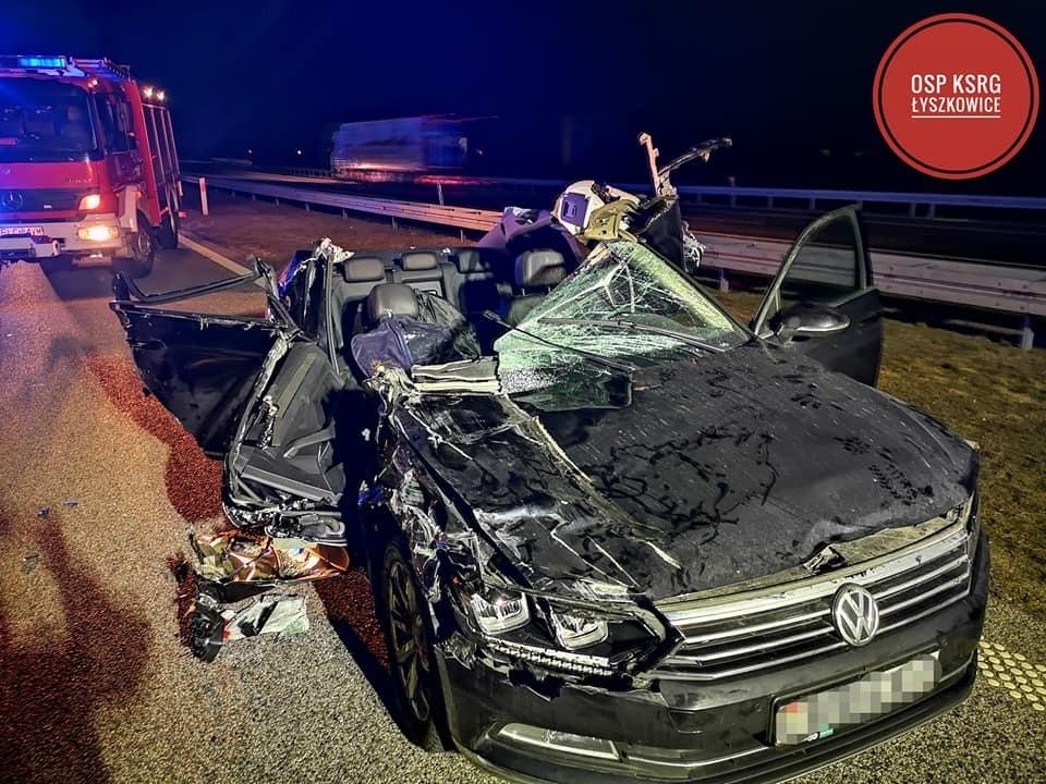 Машина с белорусами попала в аварию в Польше. Фото: Osp KSRG Łyszkowice