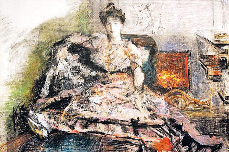 На картине Надежда Врубель - жена и муза художника.