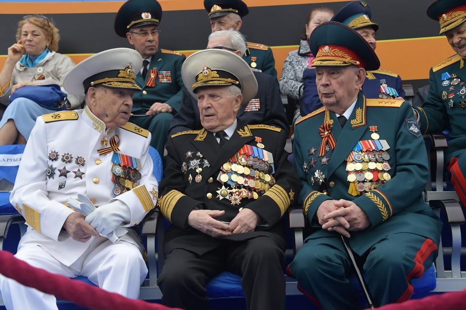 Ветераны на Красной площади перед началом военного парада, посвященного 74-й годовщине Победы в Великой Отечественной войне.