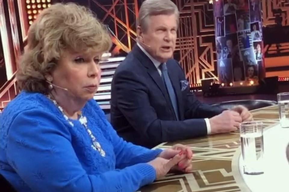 Лариса Рубальская сидела рядом с Львом Лещенко на съемках 17 марта. Фото: кадр канала «Россия1»