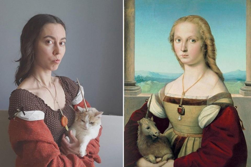Елена воспроизвела картину Рафаэля «Дама с единорогом» Фото: Елена Кормильцева