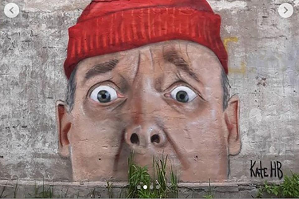 Голова с усами из травы появилась на стене заброшенного полигона Фото: instagram.com/kate._.hb