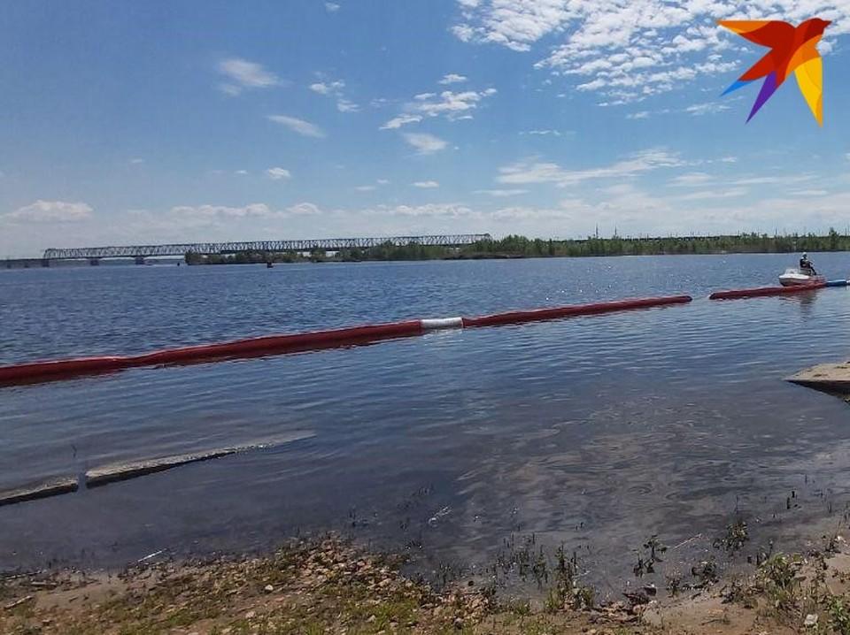 Пятно загрязнения обнаружено на Волге в районе Увека. Фото Саратовской областной службы спасения