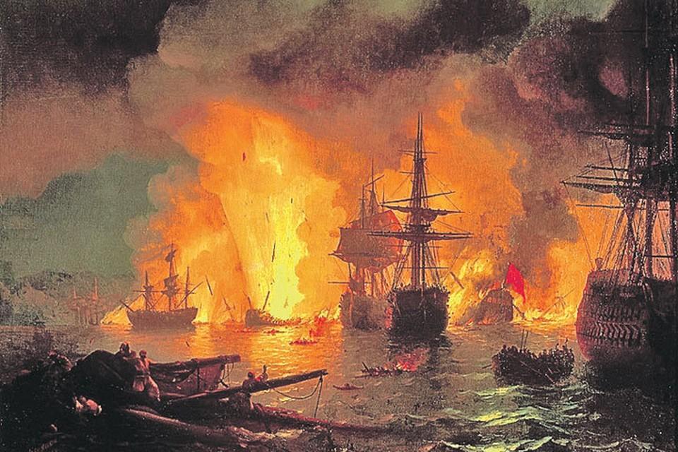 Бой в Чесменской бухте стал решающим для всей войны. Иван АЙВАЗОВСКИЙ/Чесменский бой, 1848