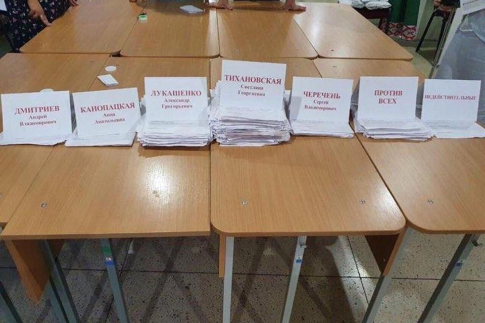 Опубликованный Tut.by снимок с результатами голосования на одном из участков.