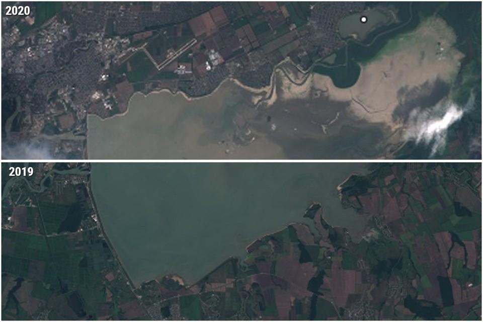 Изменение уровня Краснодарского водохранилища за год Фото: EOS Landviewer
